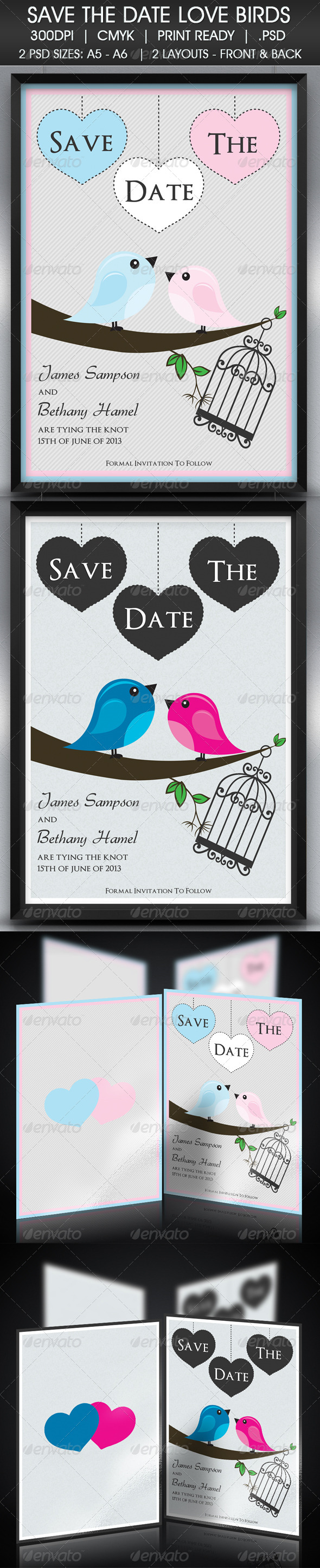 Love Birds Save The Date - Cards & Invites Print Templates
