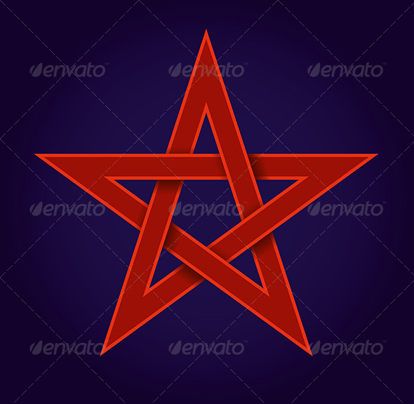 GraphicRiver Red Pentagram on Blue Background 5035349