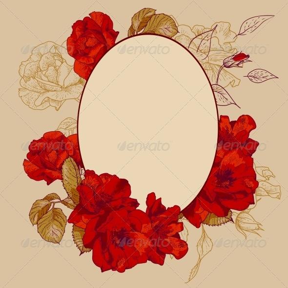 GraphicRiver Vintage Roses Oval Frame 5035646