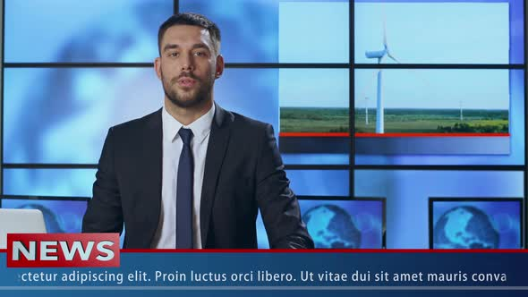 Download News Presenter Speaking About Renewable Energy nulled download