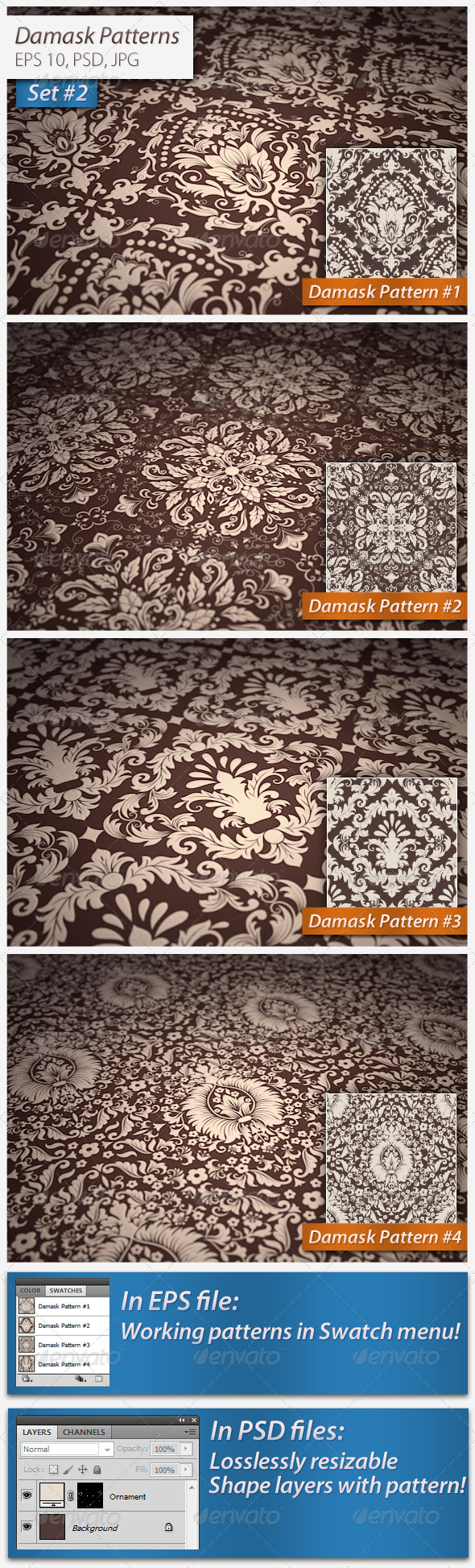 GraphicRiver Seamless Damask Patterns Set 4983155