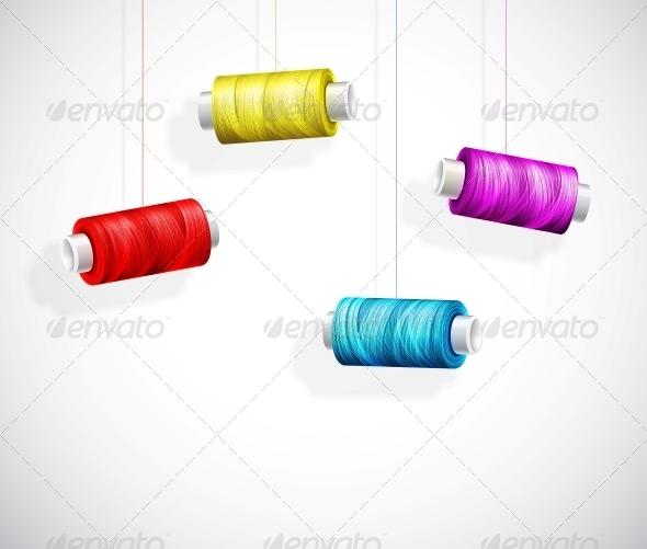 GraphicRiver Bobbins of Colorful Thread 5036655