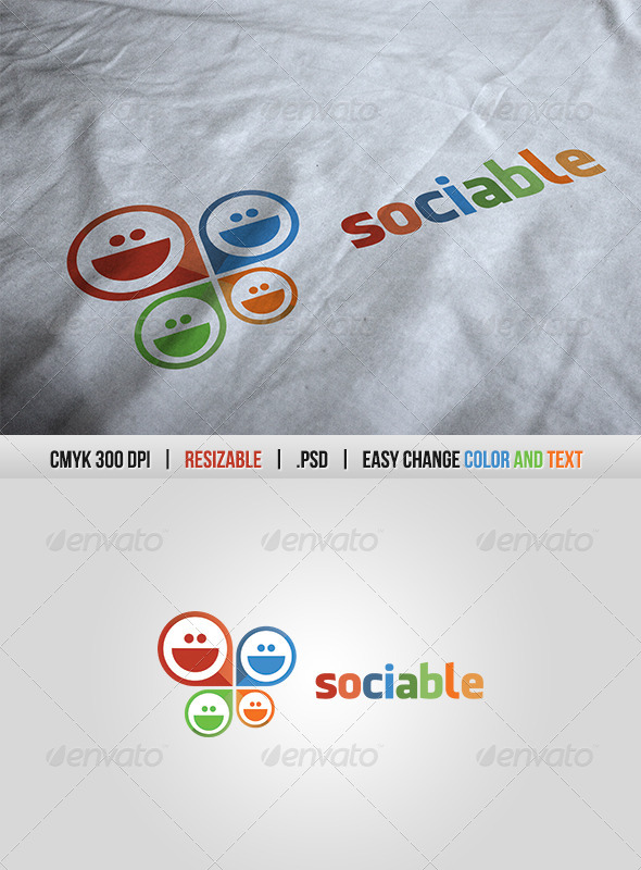 Social Sociable Logo Template