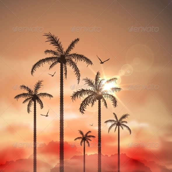 GraphicRiver Tropical Landscape with Palm Trees 5036781