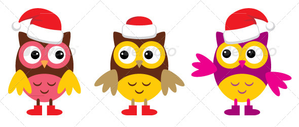 GraphicRiver Owl in Christmas Hats 5037266
