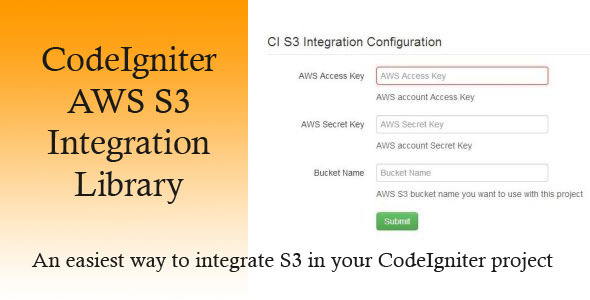CodeCanyon CodeIgniter AWS S3 Integration Library 4993914