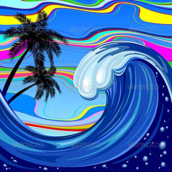 GraphicRiver Ocean Wave and Palm Trees 5038370