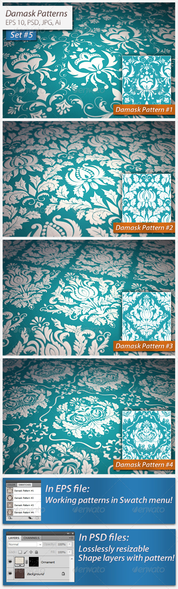 GraphicRiver Seamless Damask Patterns Set#5 5038597