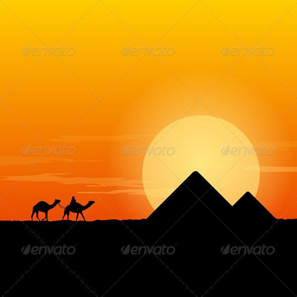 GraphicRiver Camel Caravan and Pyramid 5038817