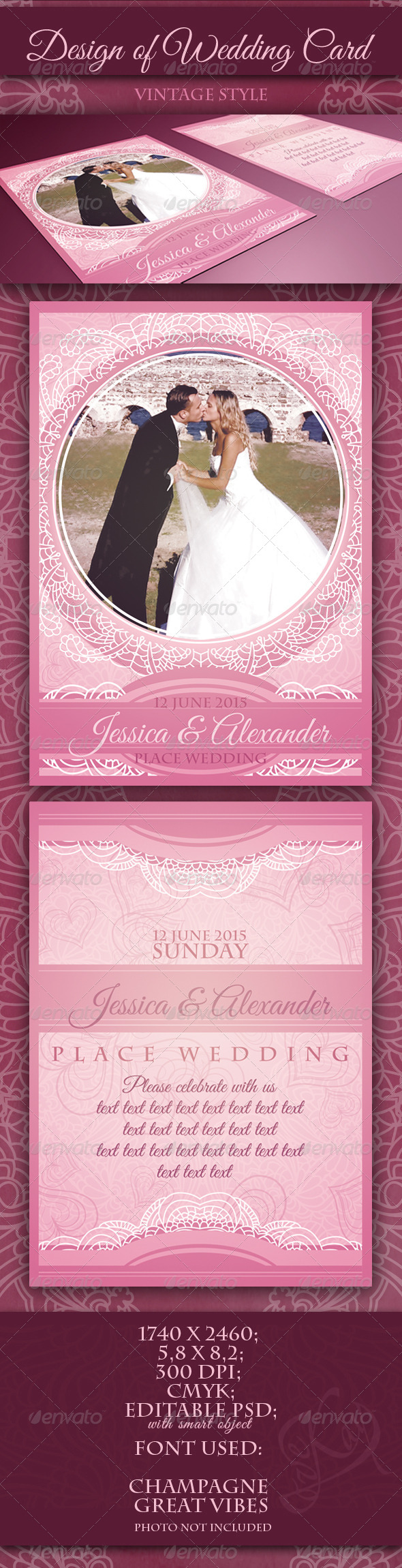 GraphicRiver Classic Vintage Wedding Card 5039070