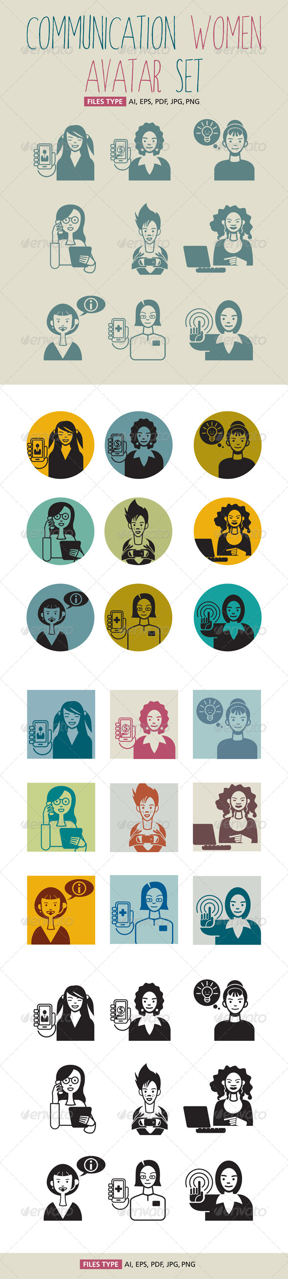 GraphicRiver Communication Women Avatar Set 5039118