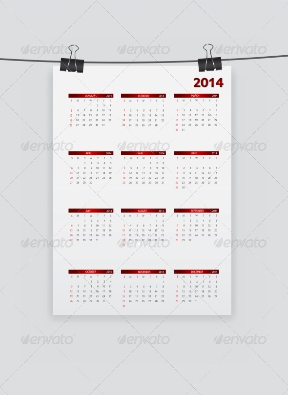 GraphicRiver 2014 New Year Calendar Vector Illustration 5039254