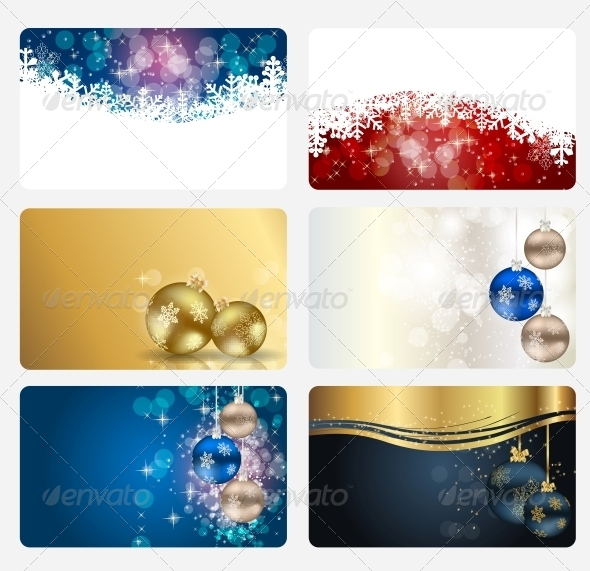 GraphicRiver Set of Cards with Christmas Balls Stars and Snow 5039385