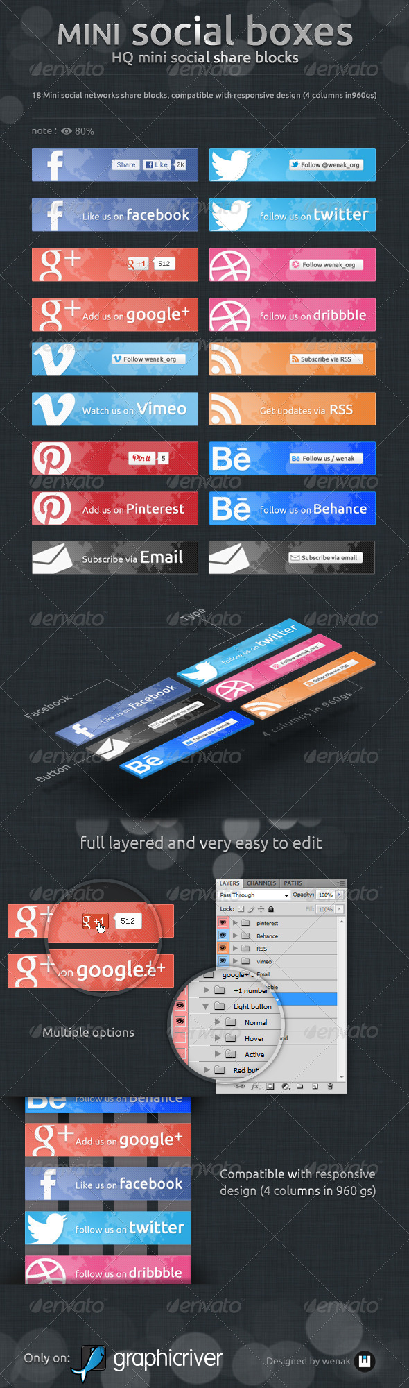 GraphicRiver Mini Social Boxes Social Share Blocks 5039393