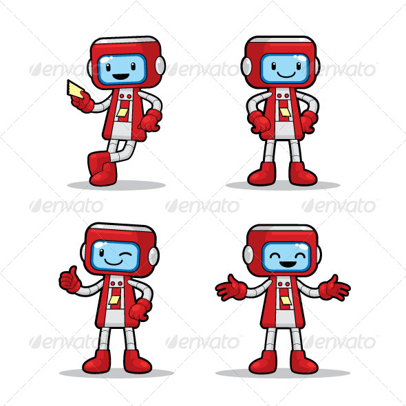 Ticket Machine Robot - Characters Vectors