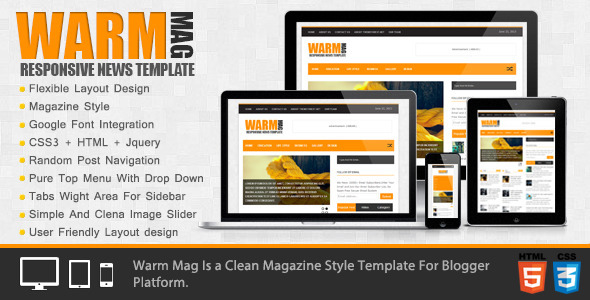 ThemeForest WarmMag Premium Responsive Blogger Template 5039846