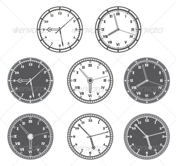 GraphicRiver Hours Set in Black and White 5039876