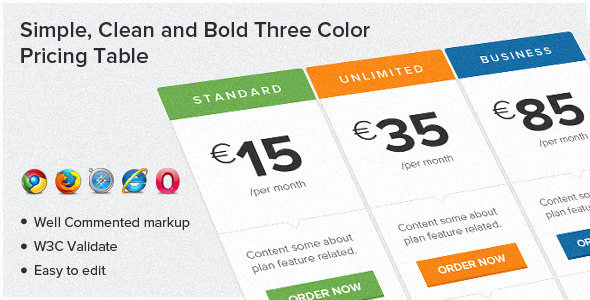 CodeCanyon Simple Clean and Bold Three Color Pricing Table 5034637