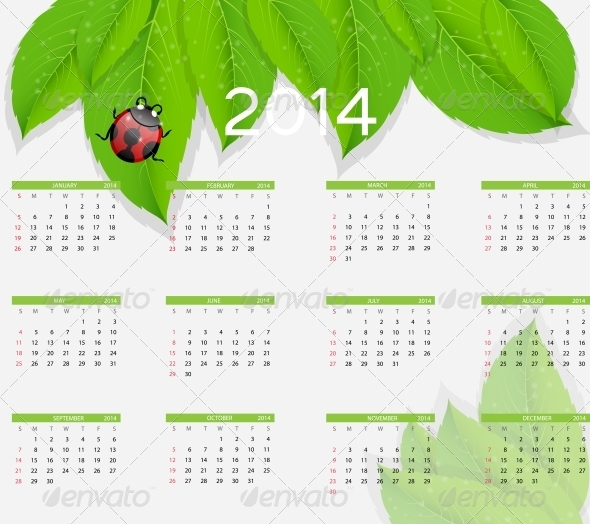 GraphicRiver 2014 New Year Nature Calendar 5040076