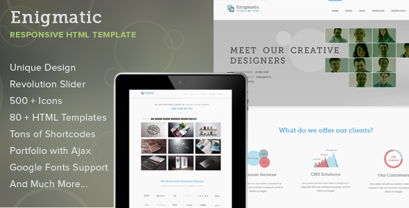 ThemeForest Enigmatic Responsive Multipurpose HTML Template 5031280