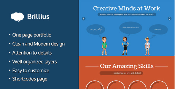 Brillius - Creative One Page PSD template