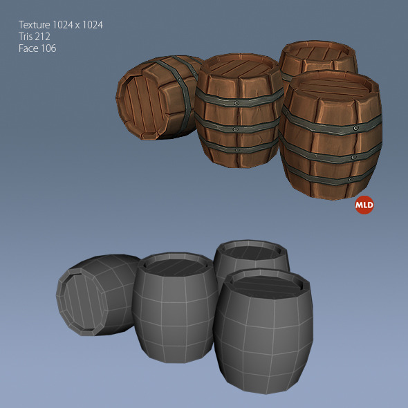 3DOcean Low Poly Barrel 5032475
