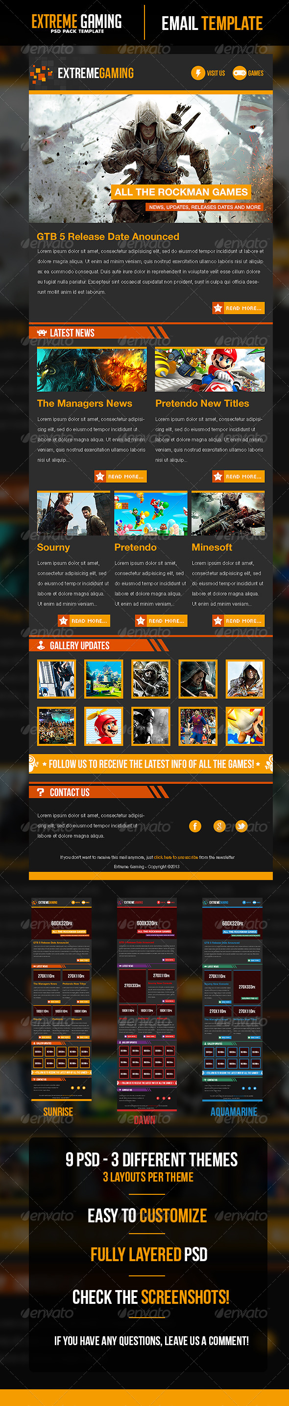 GraphicRiver Extreme Gaming PSD Email Template 5042247