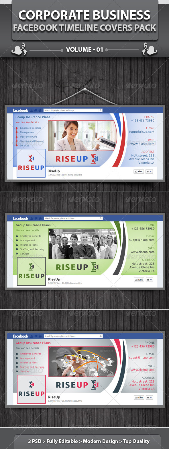 GraphicRiver Corporate Business Facebook Timeline Cover Pack v1 5042912