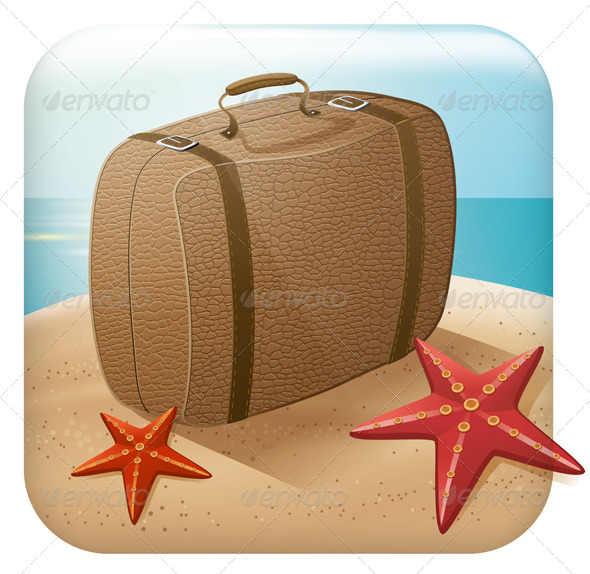 GraphicRiver App Travel Icon with Suitcase 5042917