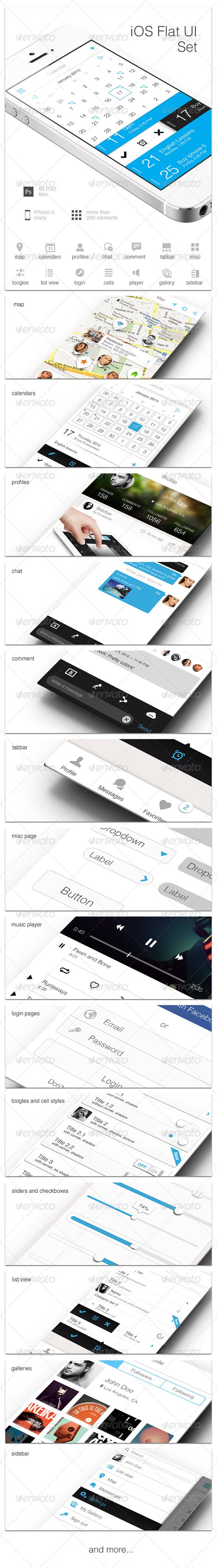 iOS Flat UI Set Vol. 1 - User Interfaces Web Elements