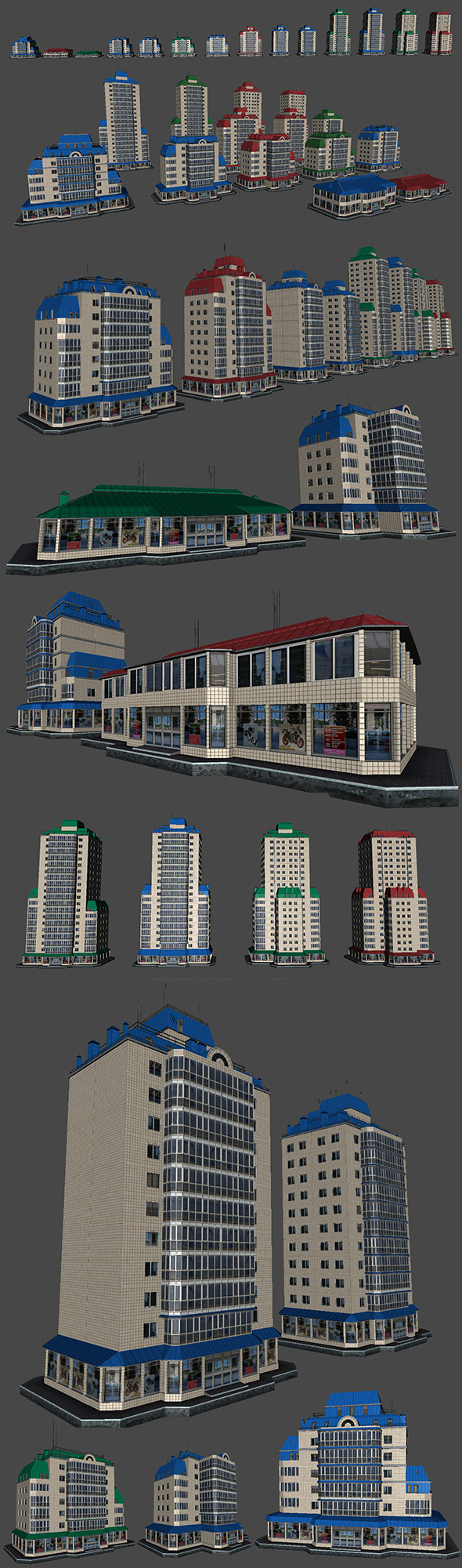 3DOcean Pack of 14 Buildings 5043003