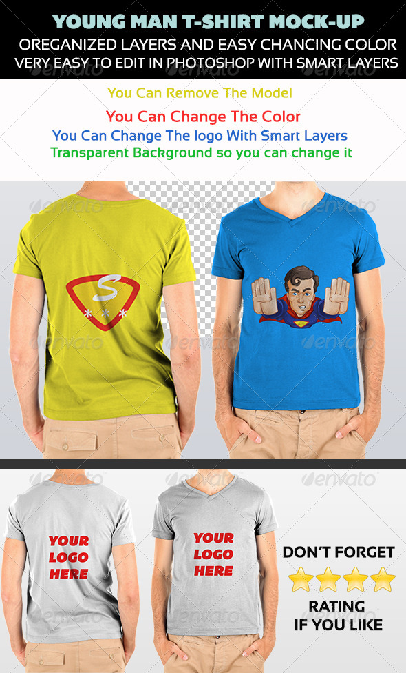 GraphicRiver Young Male T-shirt Mock-up 5043077