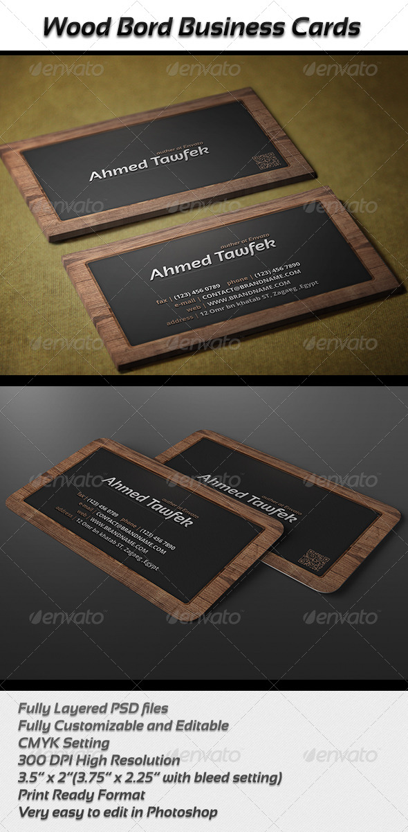 GraphicRiver Wood Bord Business Cards 5043116