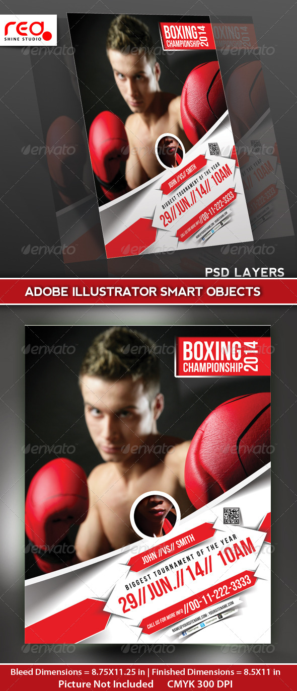 GraphicRiver Boxing Championship Flyer Poster Magazine Template 5043176