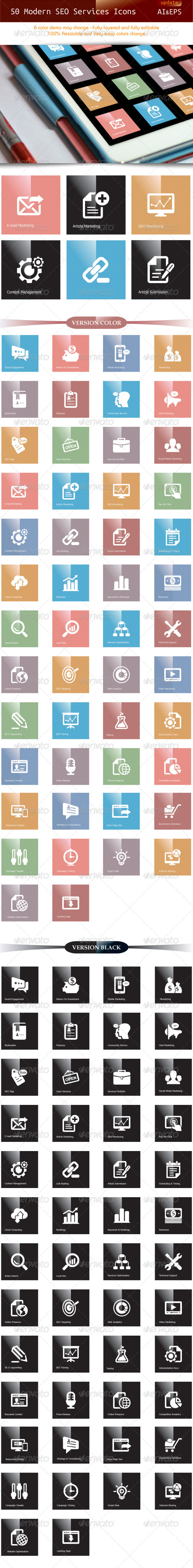 GraphicRiver 50 Modern SEO Services Icons update 5028387