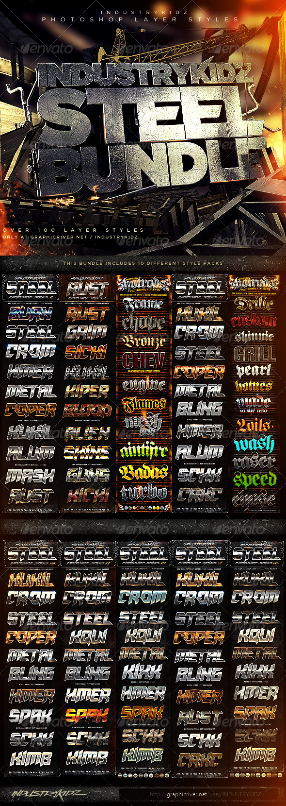 Metal Steel Photoshop Layer Styles Bundle - Text Effects Styles