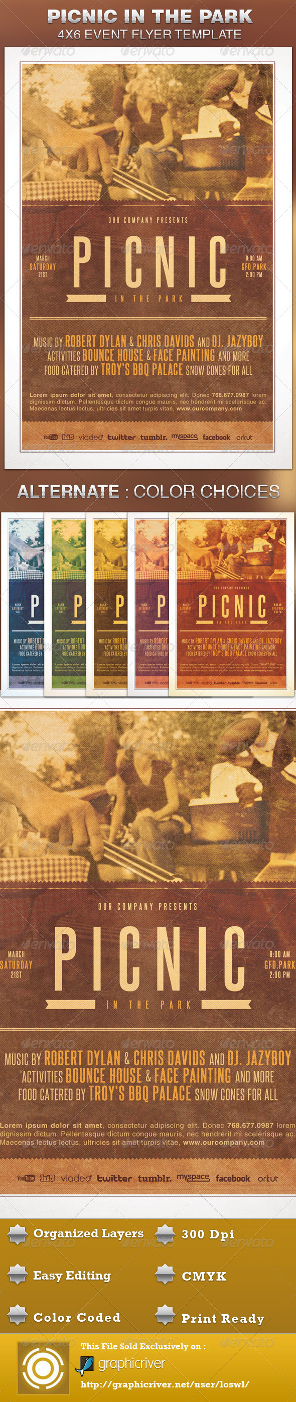 GraphicRiver Picnic in the Park Event Flyer Template 4948082