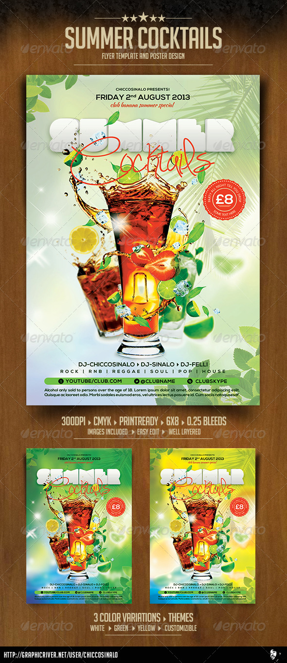 GraphicRiver Summer Cocktails Flyer Template 5044275