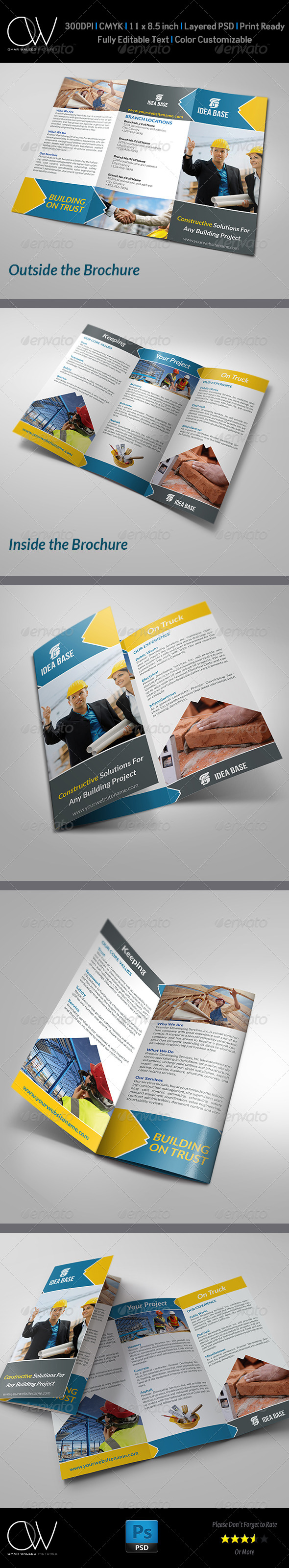 Construction Business Tri-Fold Brochure - Brochures Print Templates