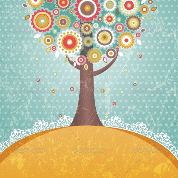 GraphicRiver Tree with Flowers 5044667