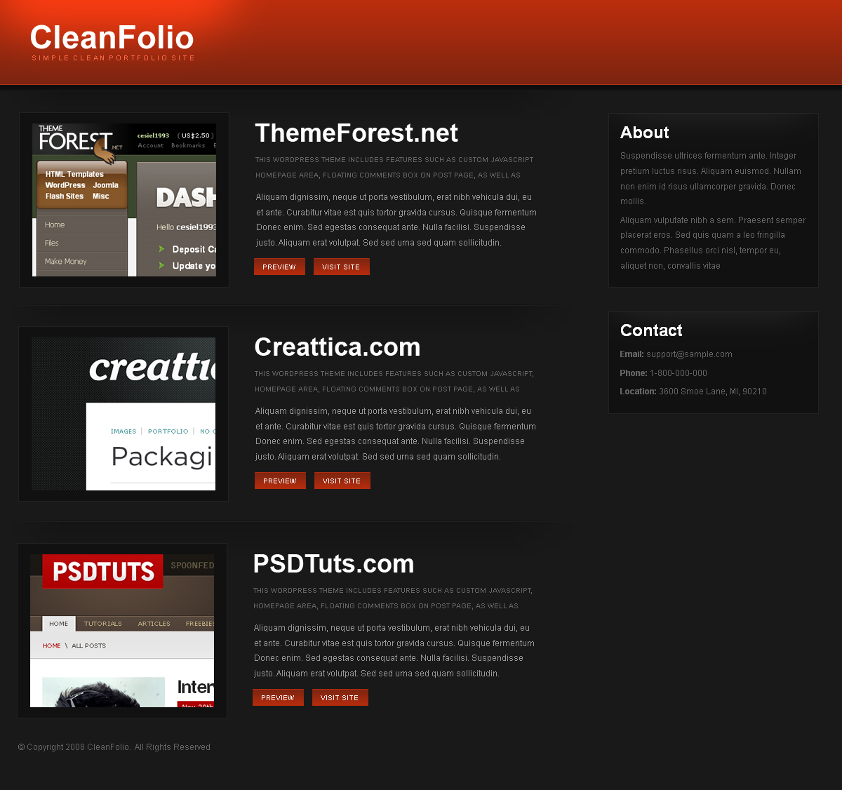 CleanFolio Dark - This is the Red version of CleanFolio Dark.  This template has 1 page that includes Lightbox Image Viewer for the preview bottom and lots of formatting for buttoms, links, paragraphs and more.