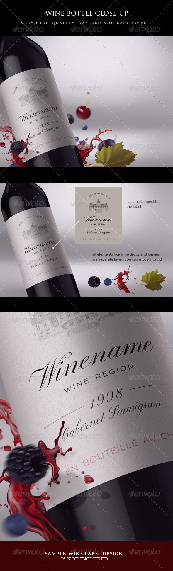 GraphicRiver Wine Bottle Close-up Mock-up with Fruits 5045607