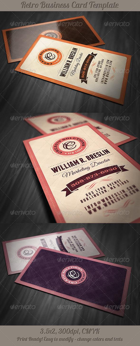 GraphicRiver Retro Business Card Template 5045921