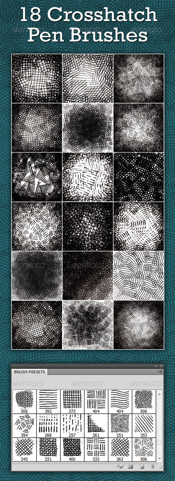 GraphicRiver Crosshatch Pen Brushes 5046014