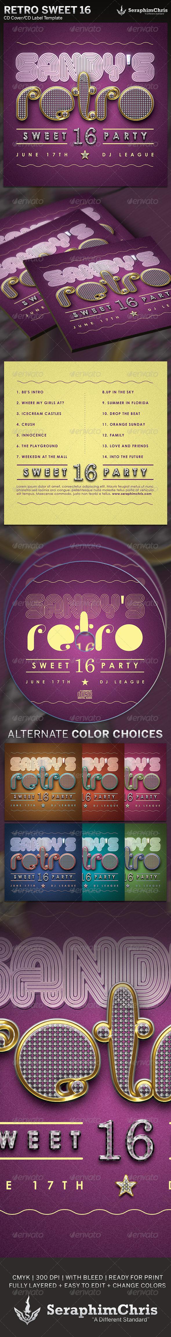 GraphicRiver Retro Sweet 16 CD Cover Artwork Template 5046366