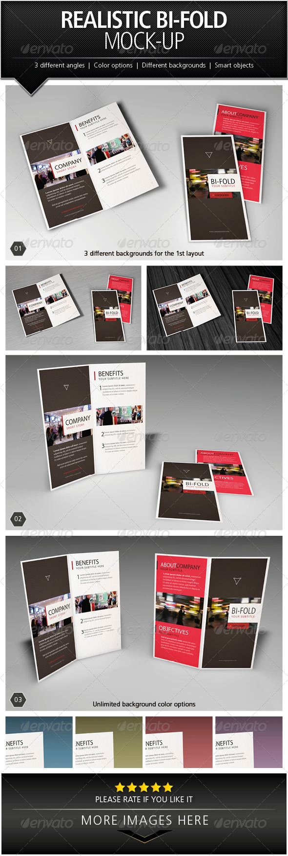 GraphicRiver Realistic Bi-Fold Brochure Mock-Up 5046500