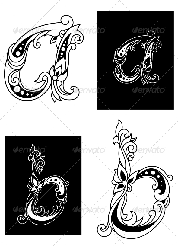 GraphicRiver Two Floral Letters A and B 5046542