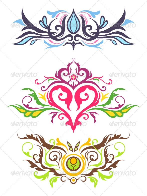 Decorative Floral Ornaments - Flourishes / Swirls Decorative