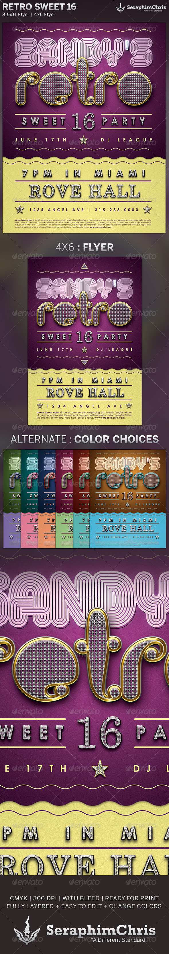 GraphicRiver Retro Sweet 16 Party Flyer Template 5046655