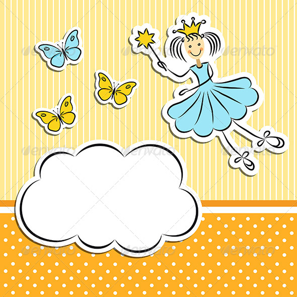 GraphicRiver Fairy Princess with Paper Cloud and Butterflies 5046754